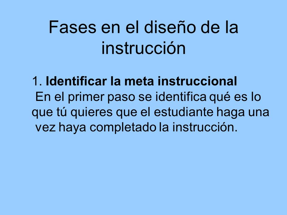 Fases en el diseño de la instrucción