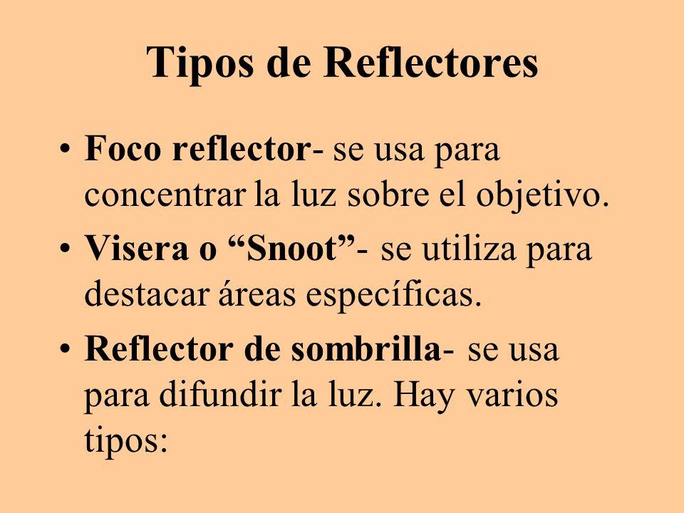 Tipos de Reflectores Foco reflector- se usa para concentrar la luz sobre el objetivo. Visera o Snoot - se utiliza para destacar áreas específicas.
