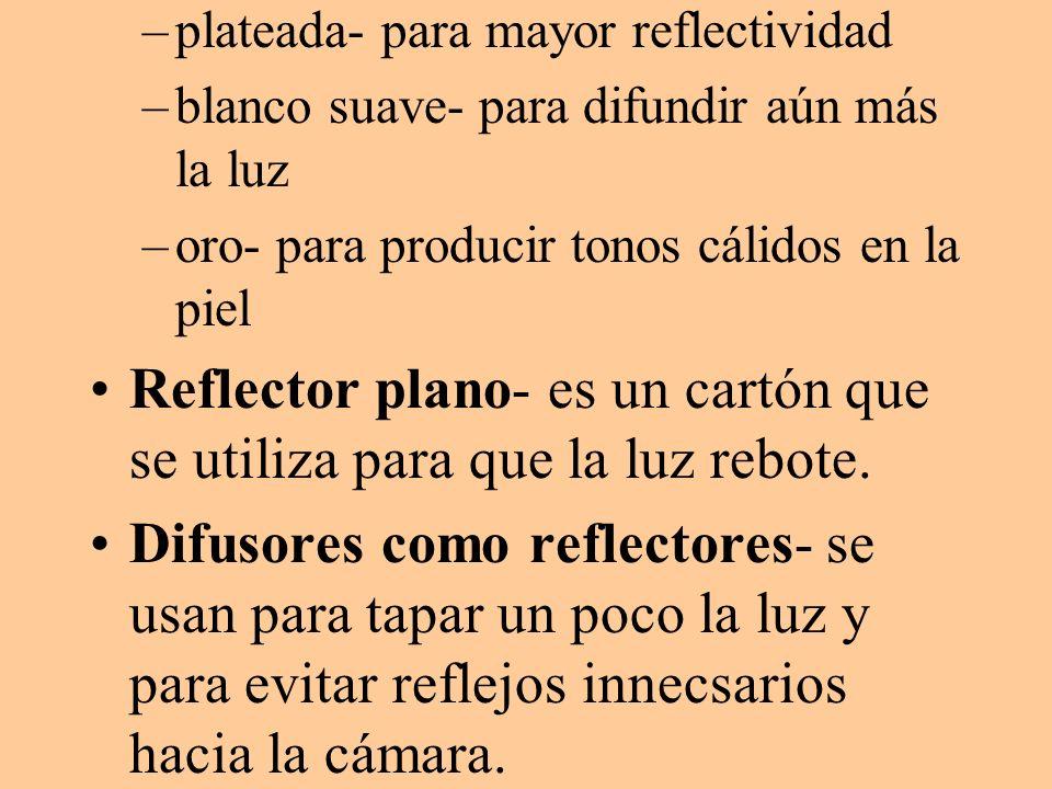 Reflector plano- es un cartón que se utiliza para que la luz rebote.