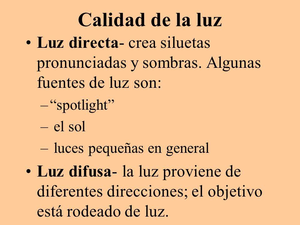 Calidad de la luz Luz directa- crea siluetas pronunciadas y sombras. Algunas fuentes de luz son: spotlight