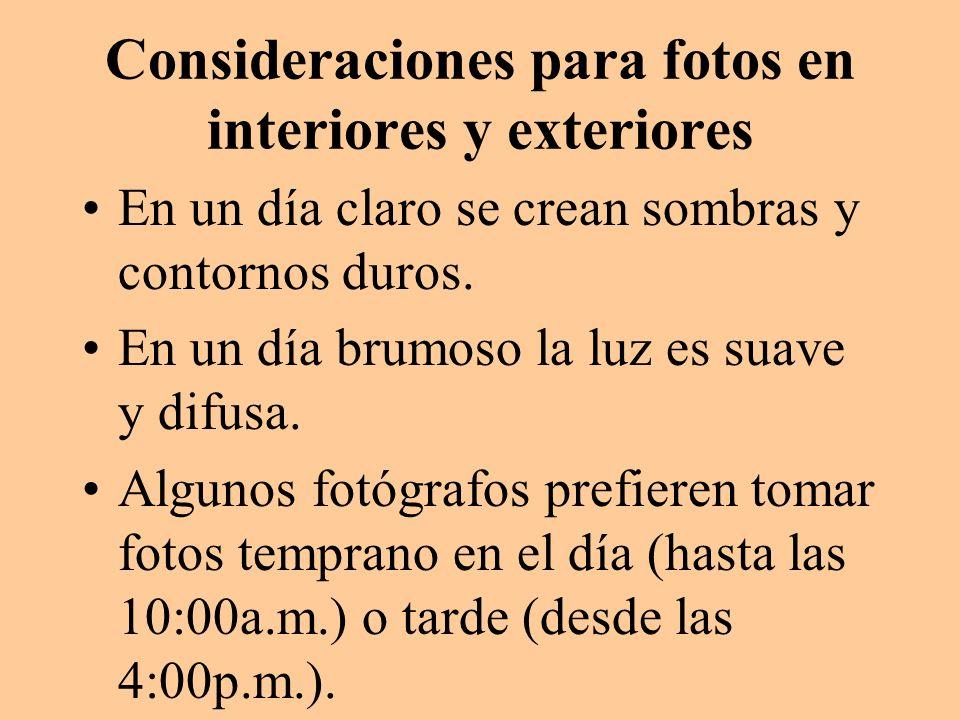 Consideraciones para fotos en interiores y exteriores