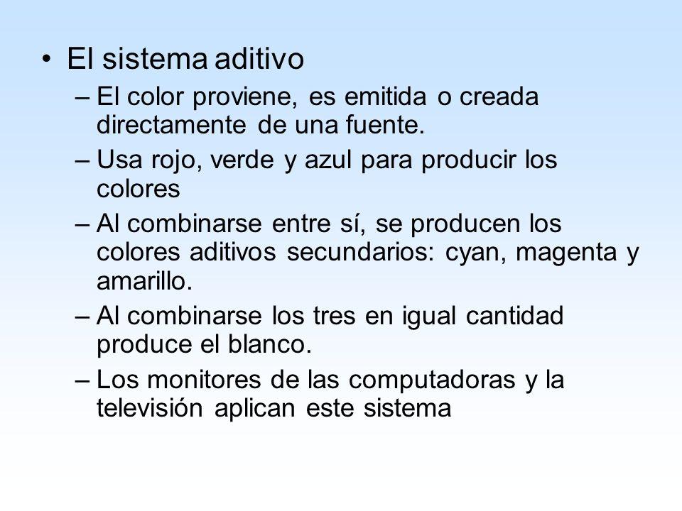 El sistema aditivoEl color proviene, es emitida o creada directamente de una fuente. Usa rojo, verde y azul para producir los colores.