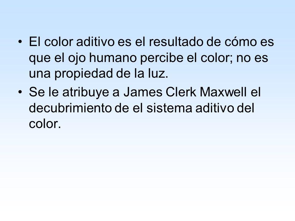 El color aditivo es el resultado de cómo es que el ojo humano percibe el color; no es una propiedad de la luz.