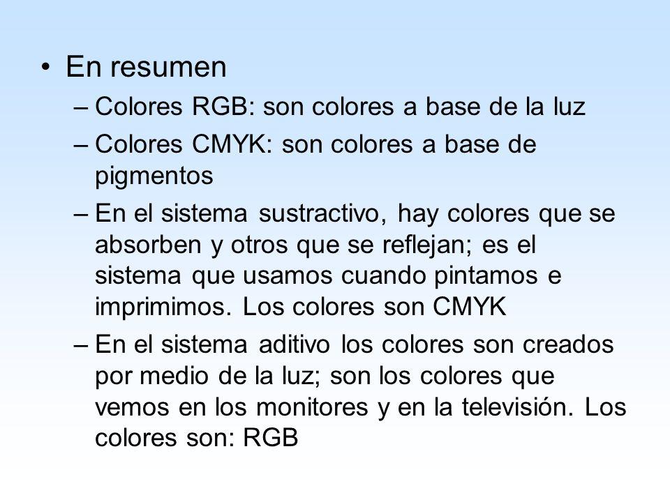 En resumen Colores RGB: son colores a base de la luz