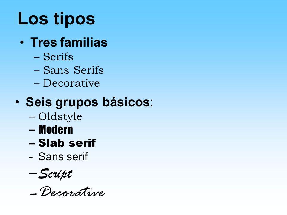 Los tipos Decorative Script Tres familias Seis grupos básicos: Serifs