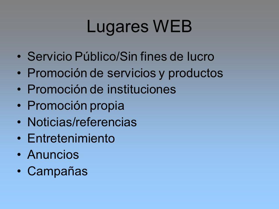 Lugares WEB Servicio Público/Sin fines de lucro
