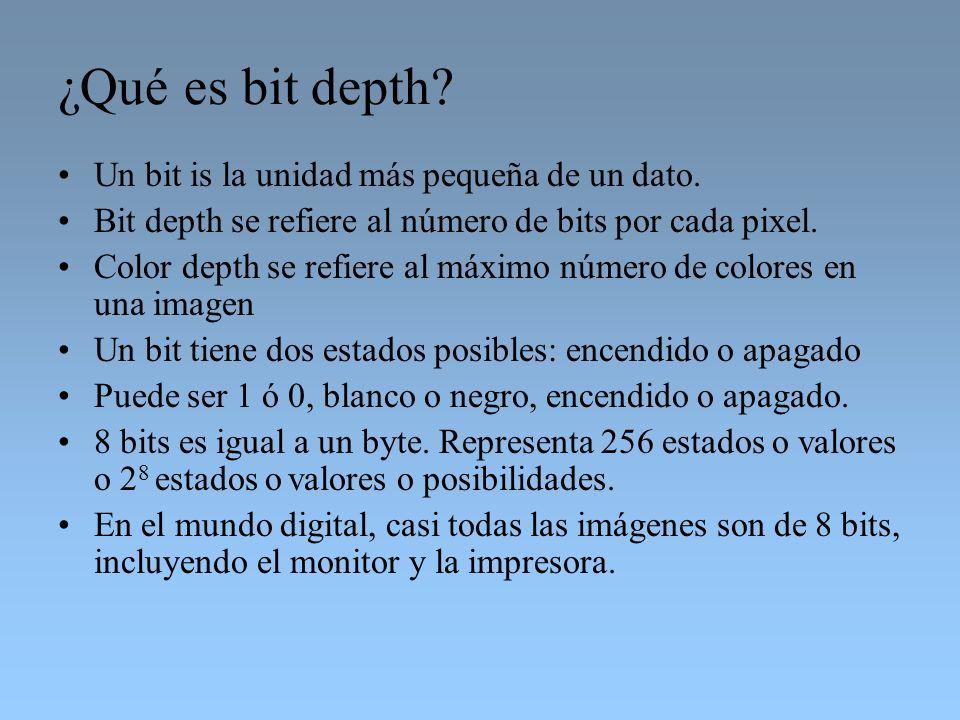 ¿Qué es bit depth Un bit is la unidad más pequeña de un dato.