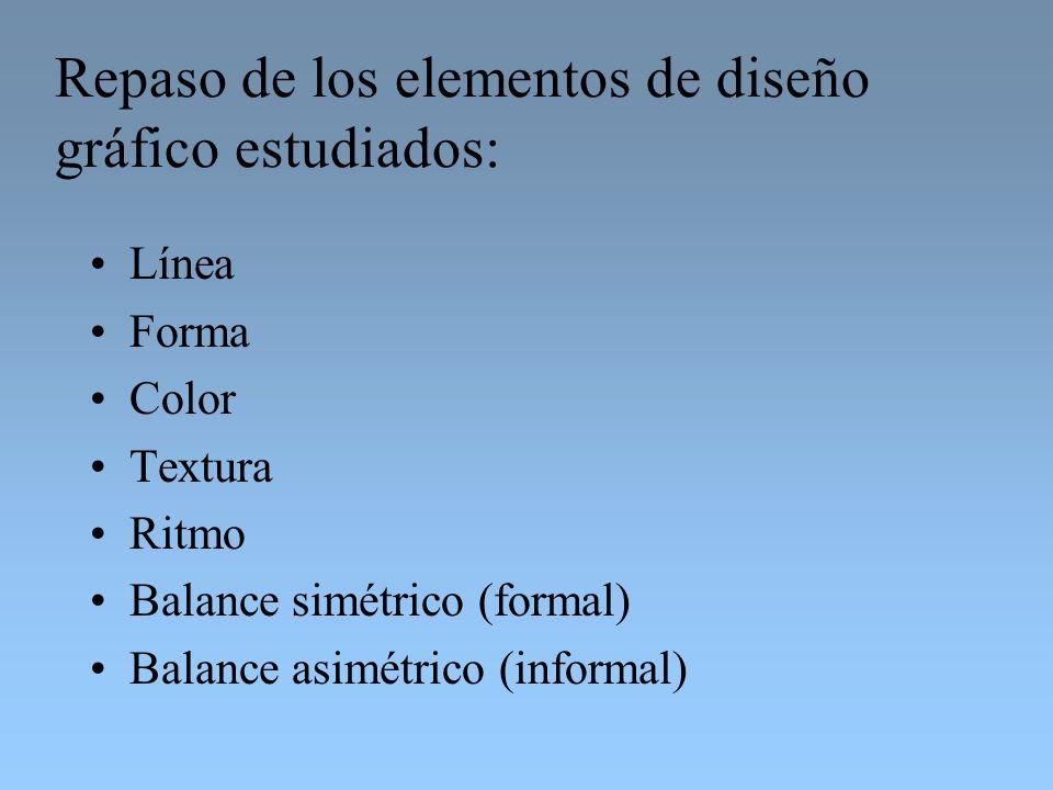 Repaso de los elementos de diseño gráfico estudiados: