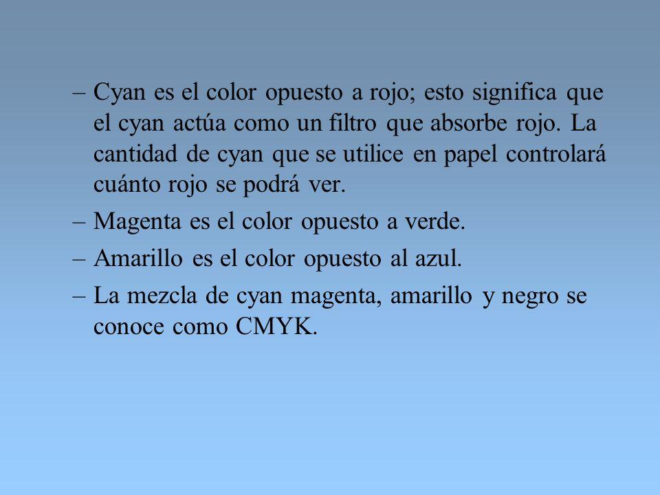 Cyan es el color opuesto a rojo; esto significa que el cyan actúa como un filtro que absorbe rojo. La cantidad de cyan que se utilice en papel controlará cuánto rojo se podrá ver.