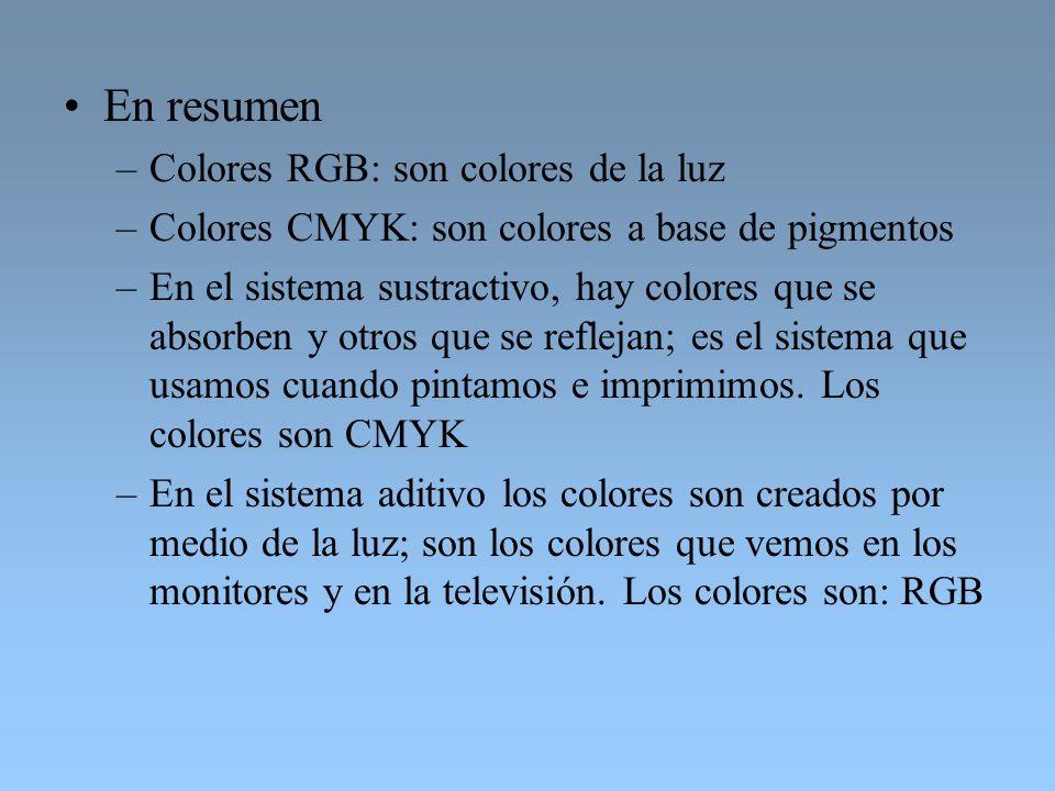 En resumen Colores RGB: son colores de la luz