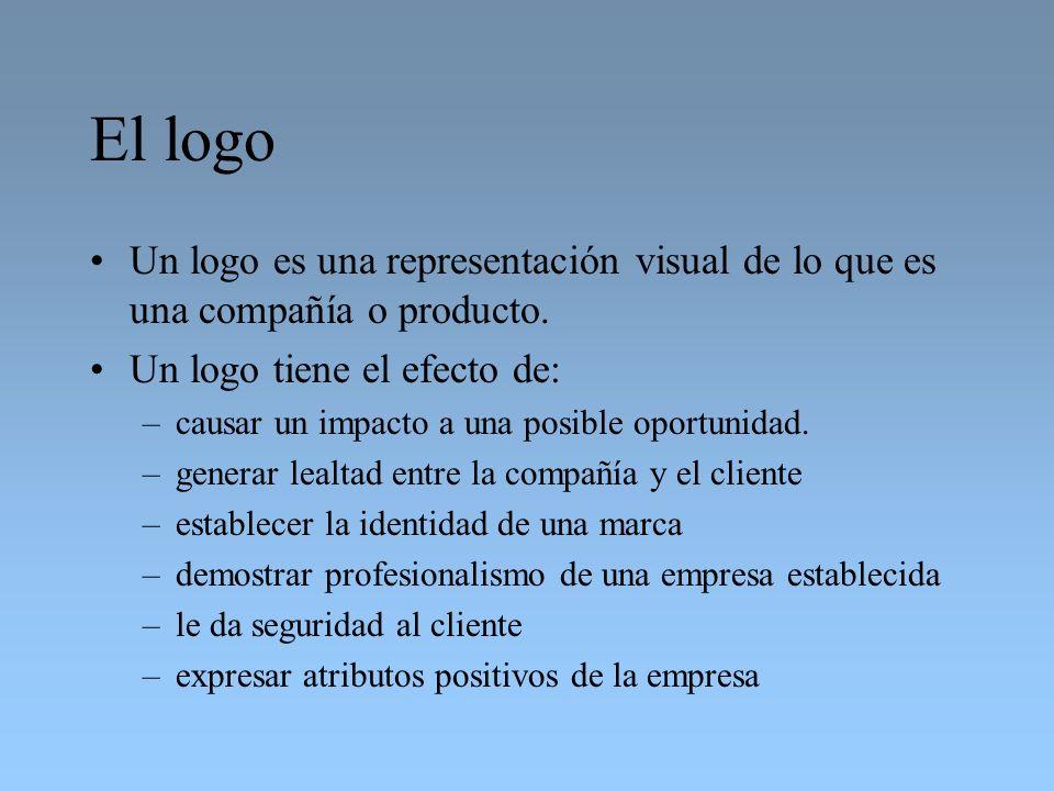 El logo Un logo es una representación visual de lo que es una compañía o producto. Un logo tiene el efecto de: