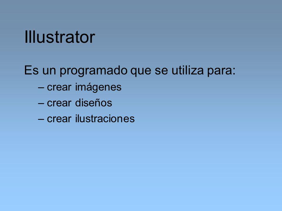 Illustrator Es un programado que se utiliza para: crear imágenes