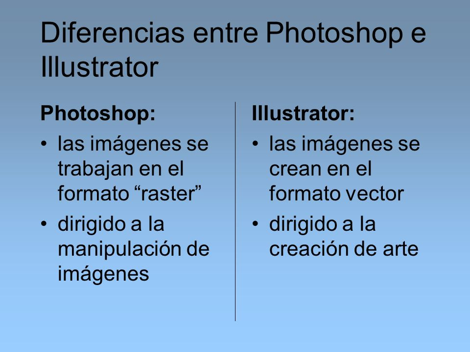 Diferencias entre Photoshop e Illustrator