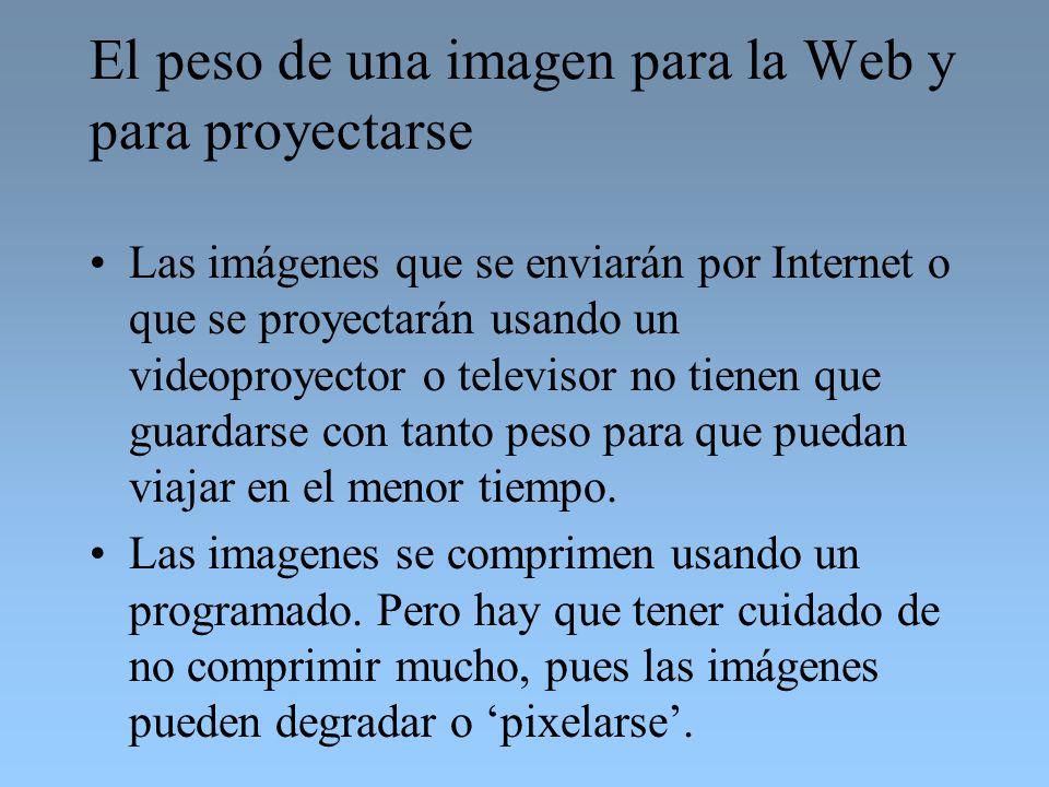 El peso de una imagen para la Web y para proyectarse