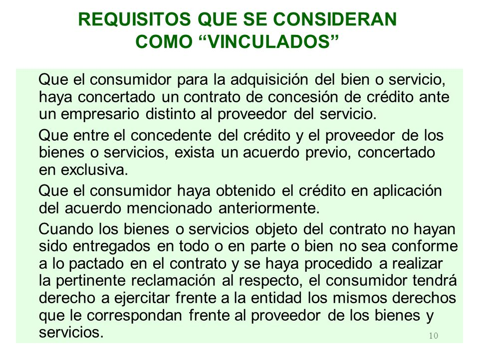 REQUISITOS QUE SE CONSIDERAN COMO VINCULADOS
