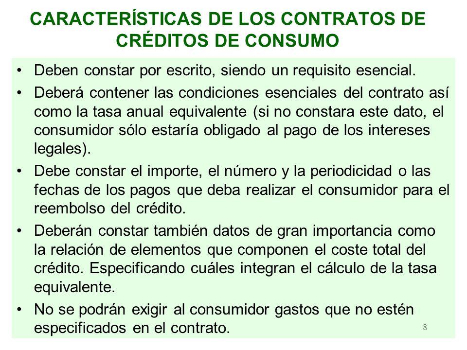 CARACTERÍSTICAS DE LOS CONTRATOS DE CRÉDITOS DE CONSUMO