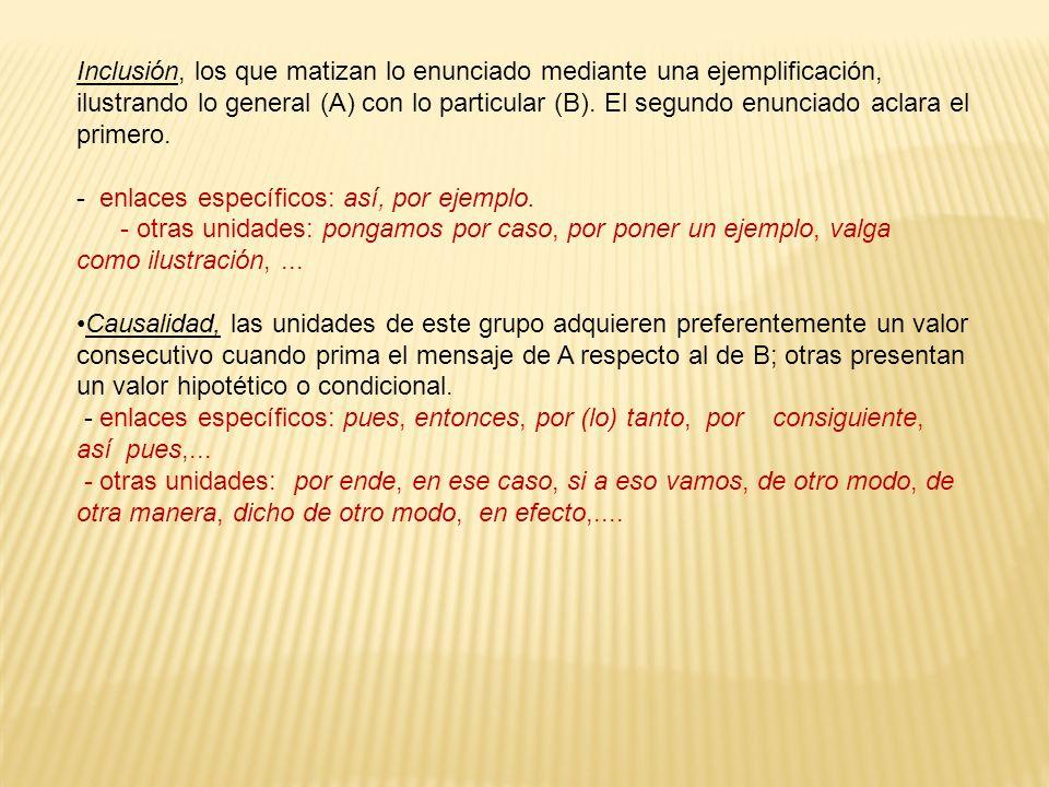 Inclusión, los que matizan lo enunciado mediante una ejemplificación, ilustrando lo general (A) con lo particular (B). El segundo enunciado aclara el primero.