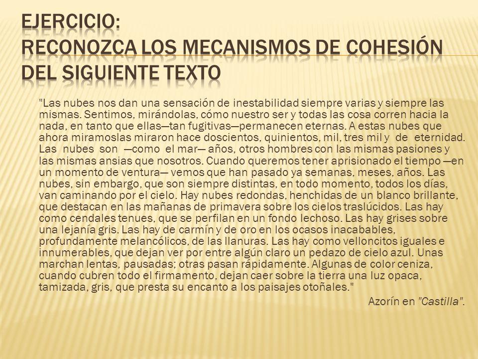 Ejercicio: Reconozca los mecanismos de cohesión del siguiente texto