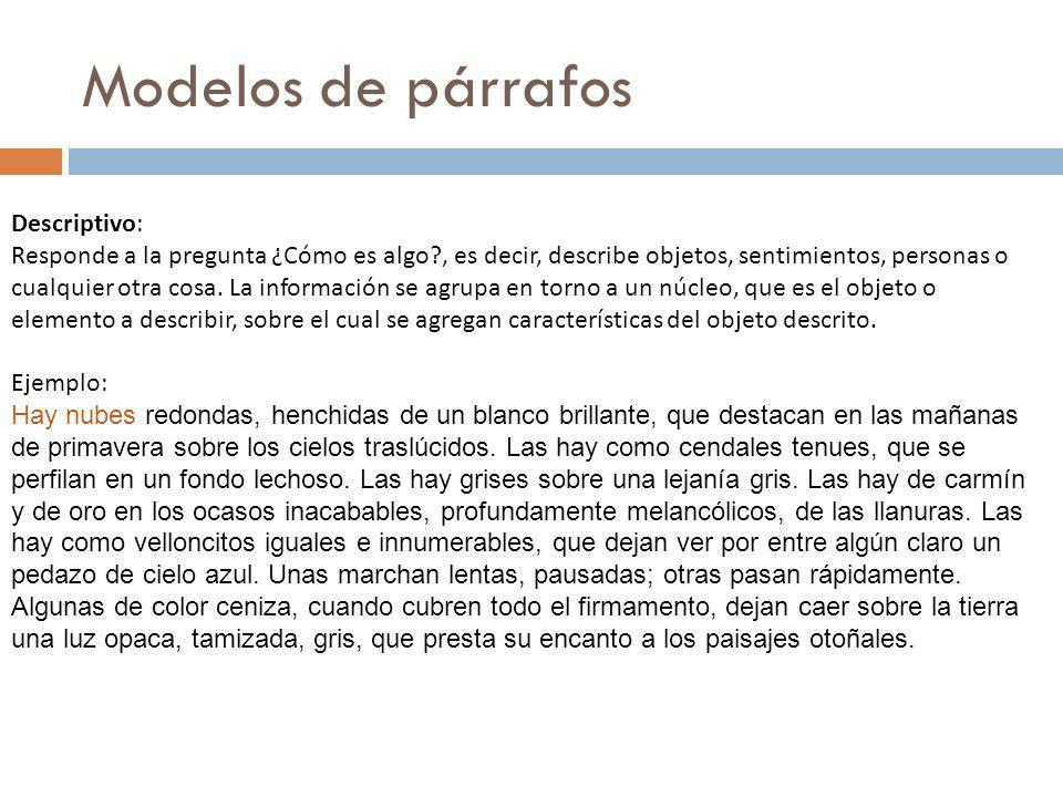 Modelos de párrafos Descriptivo: