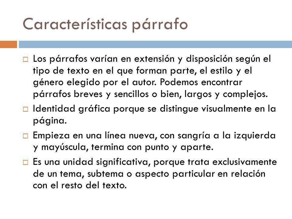 Características párrafo