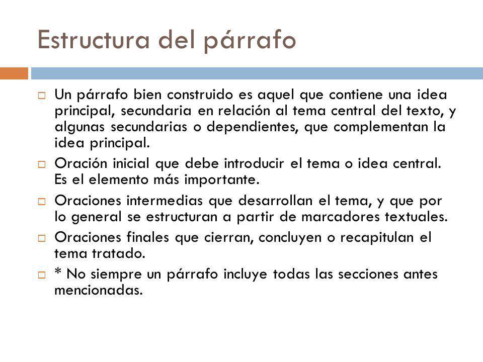Estructura del párrafo