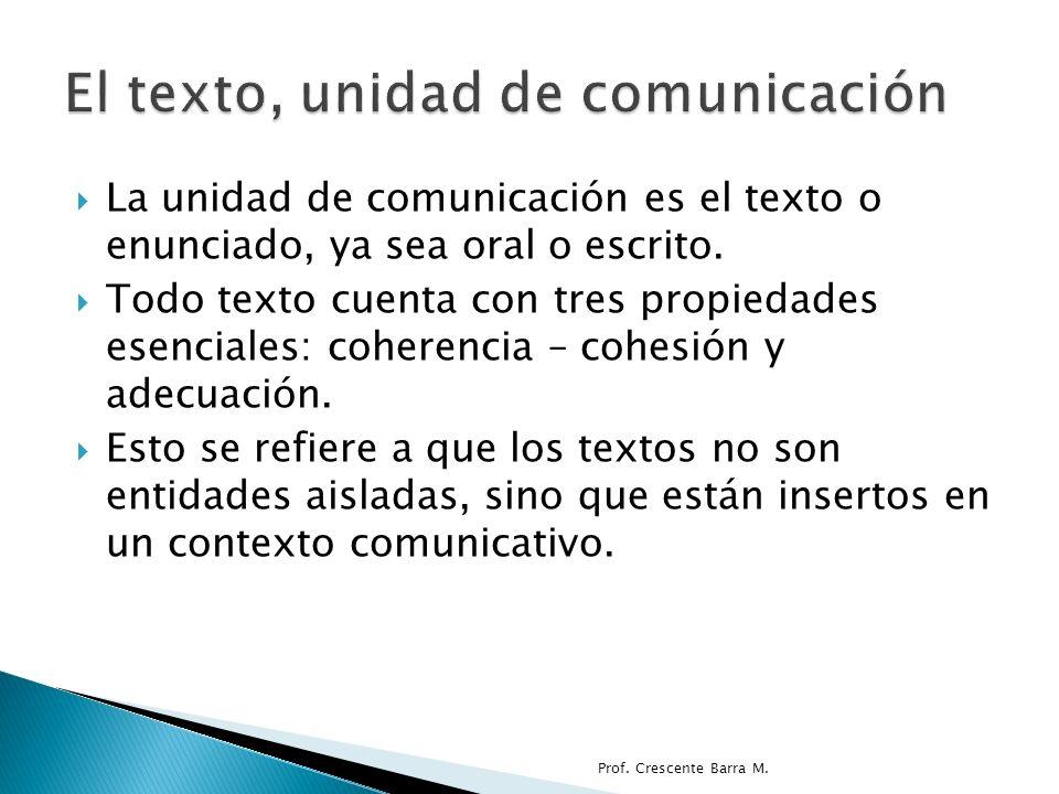 El texto, unidad de comunicación
