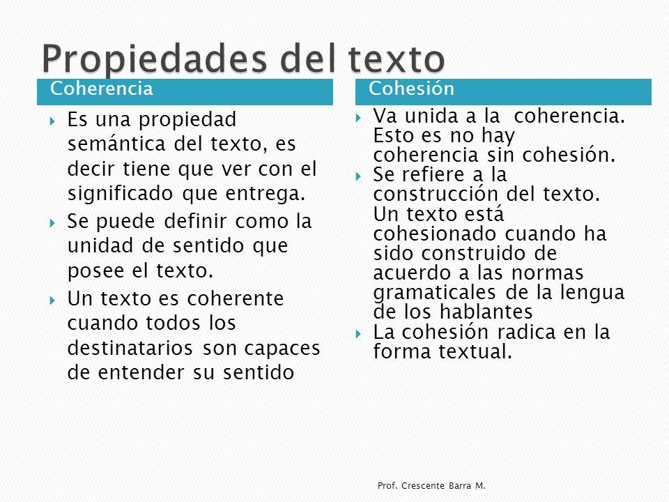 Propiedades del texto Coherencia. Cohesión. Es una propiedad semántica del texto, es decir tiene que ver con el significado que entrega.