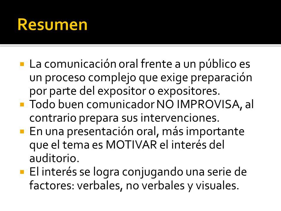 Resumen La comunicación oral frente a un público es un proceso complejo que exige preparación por parte del expositor o expositores.