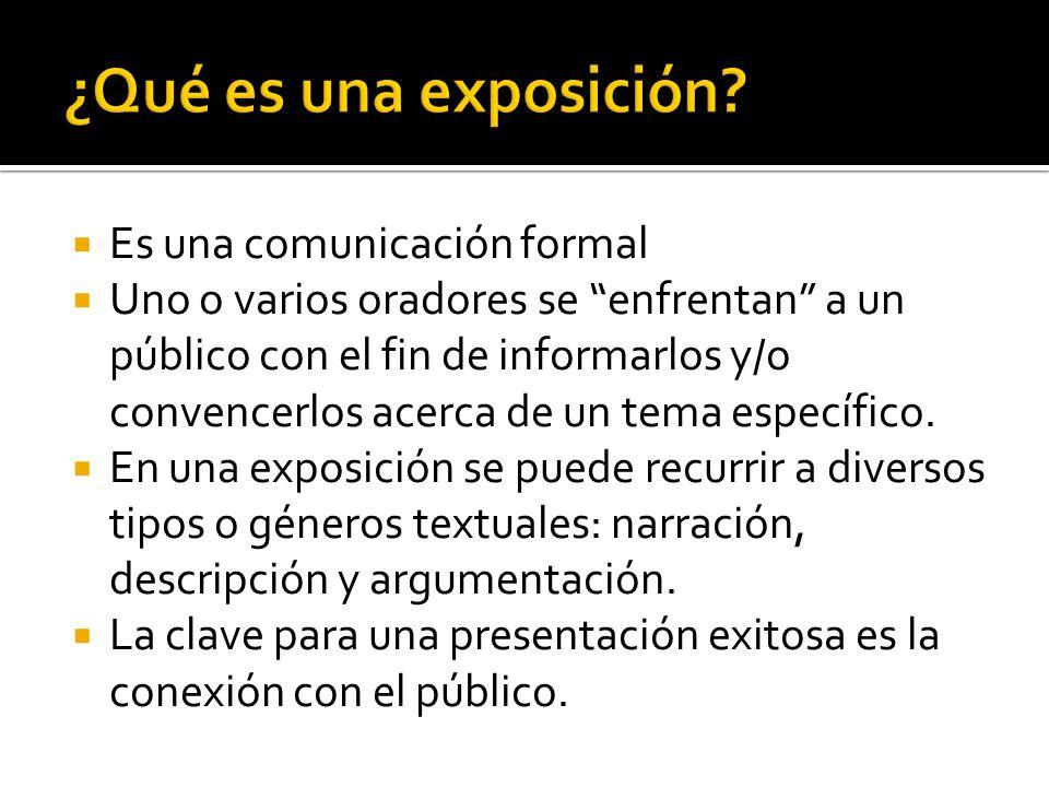 ¿Qué es una exposición Es una comunicación formal