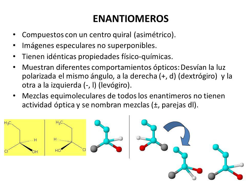 ENANTIOMEROS Compuestos con un centro quiral (asimétrico).