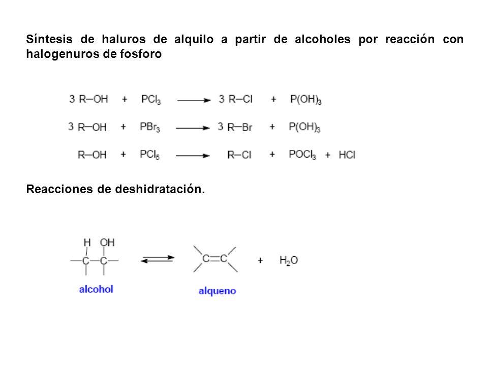 Síntesis de haluros de alquilo a partir de alcoholes por reacción con halogenuros de fosforo