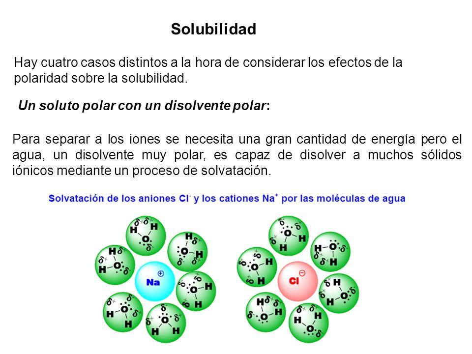 Solubilidad Hay cuatro casos distintos a la hora de considerar los efectos de la polaridad sobre la solubilidad.