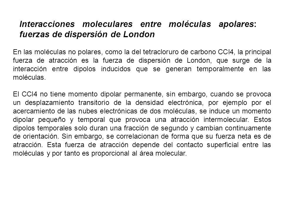 Interacciones moleculares entre moléculas apolares: fuerzas de dispersión de London