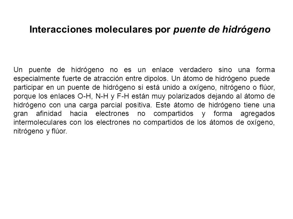 Interacciones moleculares por puente de hidrógeno