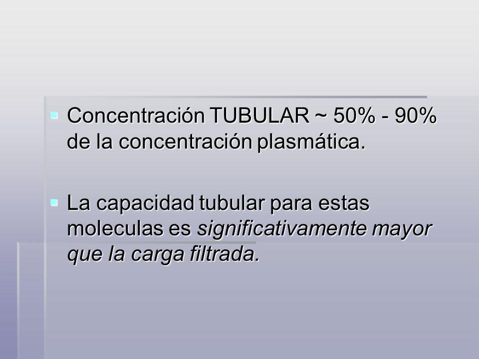 Concentración TUBULAR ~ 50% - 90% de la concentración plasmática.