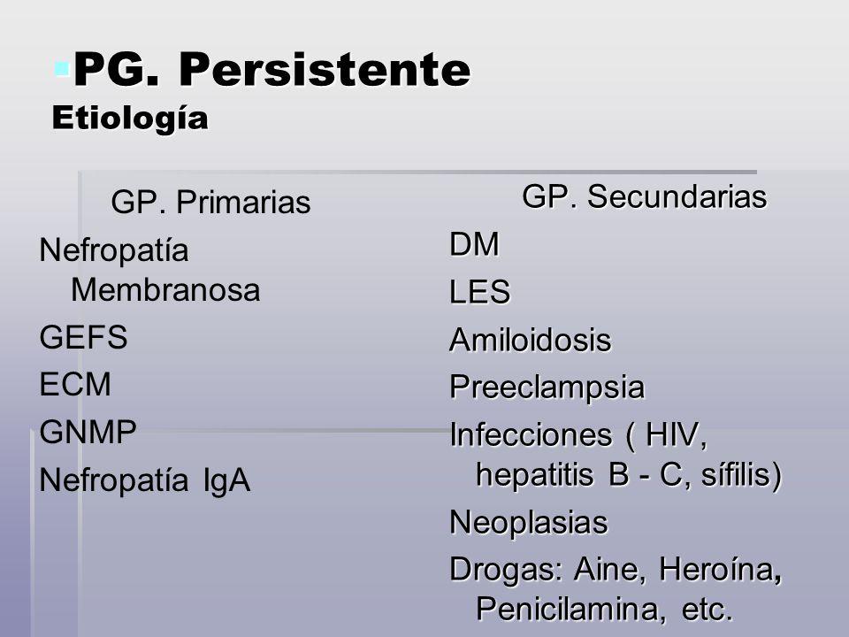 PG. Persistente Etiología