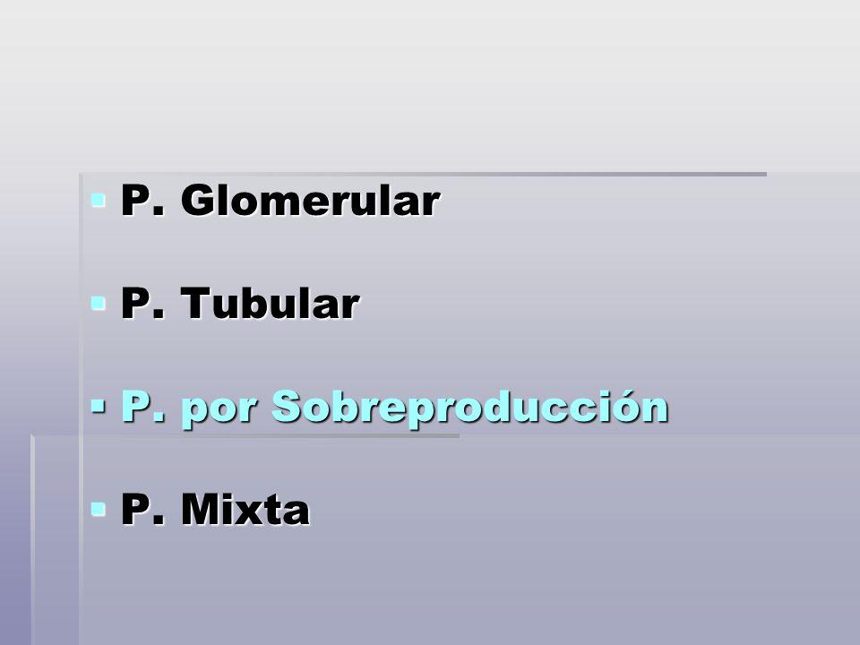 P. Glomerular P. Tubular P. por Sobreproducción P. Mixta