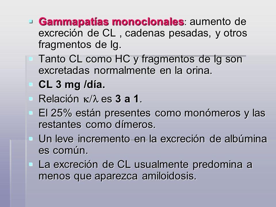 Gammapatías monoclonales: aumento de excreción de CL , cadenas pesadas, y otros fragmentos de Ig.