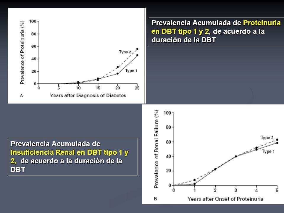 Prevalencia Acumulada de Proteinuria en DBT tipo 1 y 2, de acuerdo a la duración de la DBT