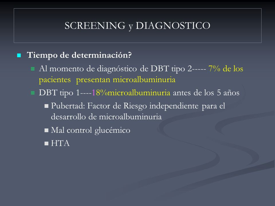 SCREENING y DIAGNOSTICO