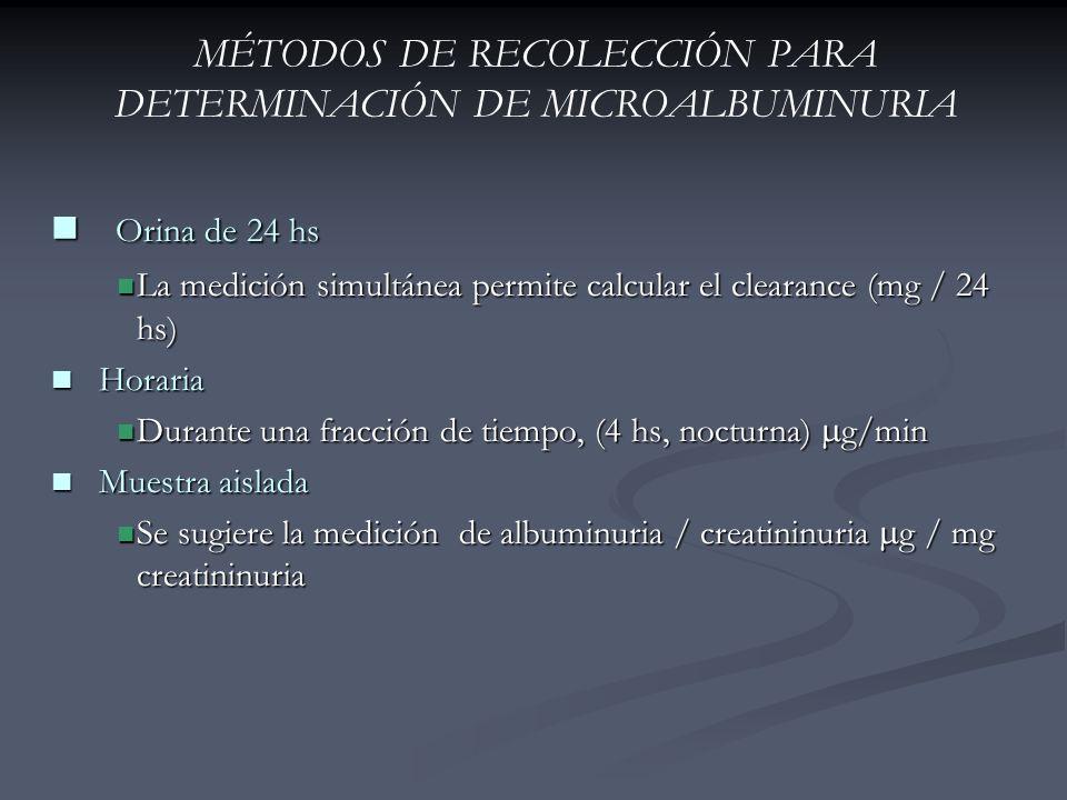 MÉTODOS DE RECOLECCIÓN PARA DETERMINACIÓN DE MICROALBUMINURIA