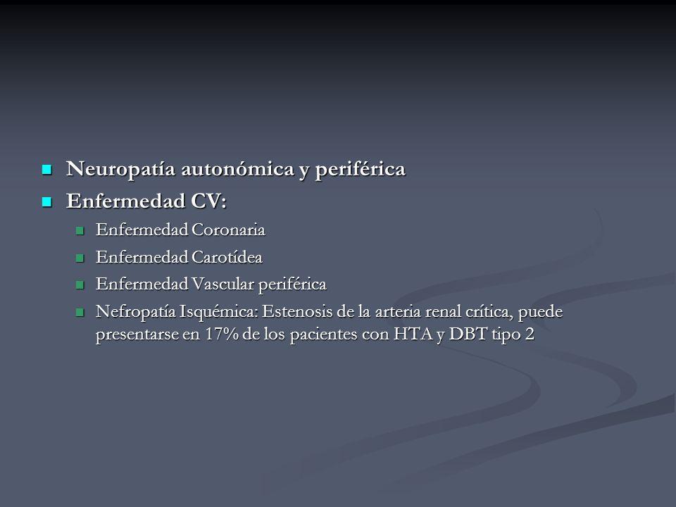 Neuropatía autonómica y periférica Enfermedad CV: