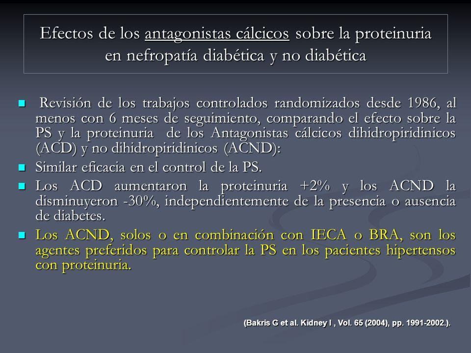 Efectos de los antagonistas cálcicos sobre la proteinuria en nefropatía diabética y no diabética
