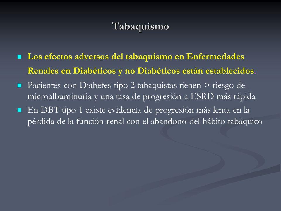 TabaquismoLos efectos adversos del tabaquismo en Enfermedades Renales en Diabéticos y no Diabéticos están establecidos.