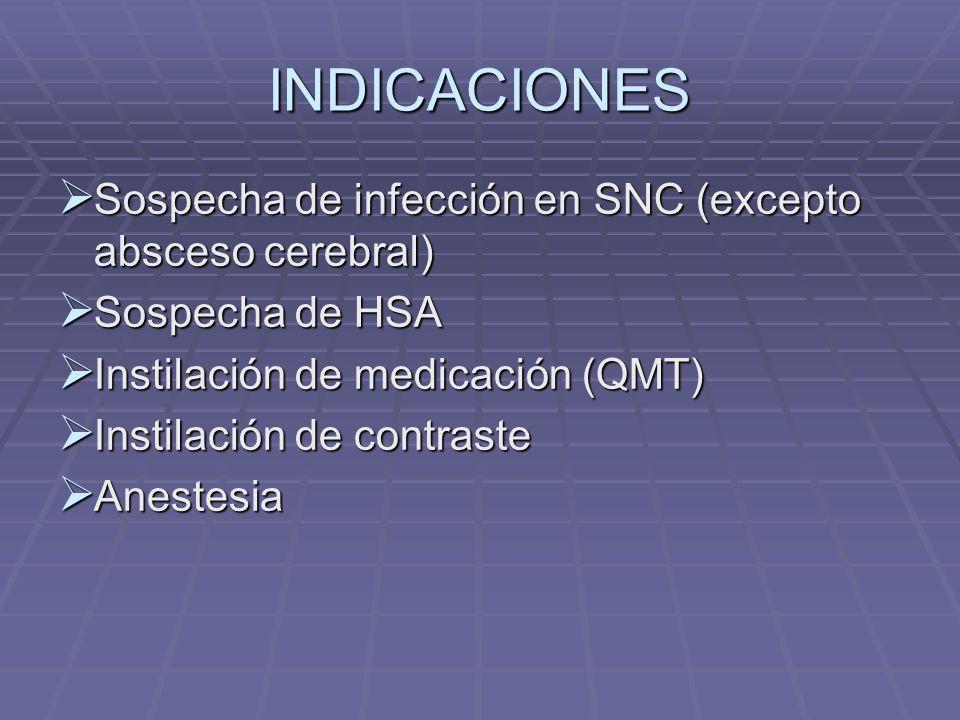INDICACIONES Sospecha de infección en SNC (excepto absceso cerebral)