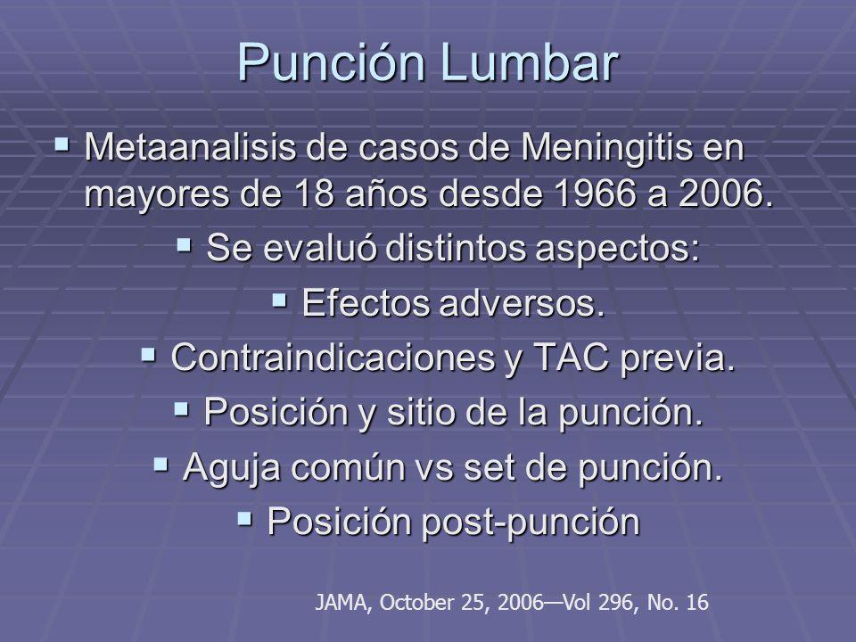 Punción Lumbar Metaanalisis de casos de Meningitis en mayores de 18 años desde 1966 a 2006. Se evaluó distintos aspectos: