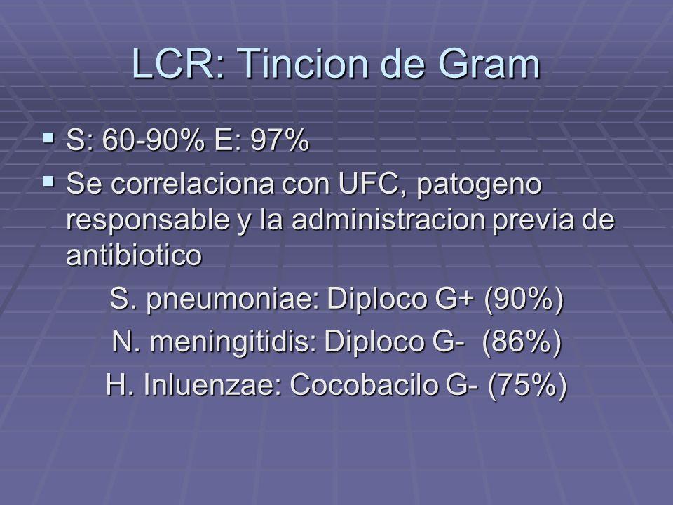 LCR: Tincion de Gram S: 60-90% E: 97%