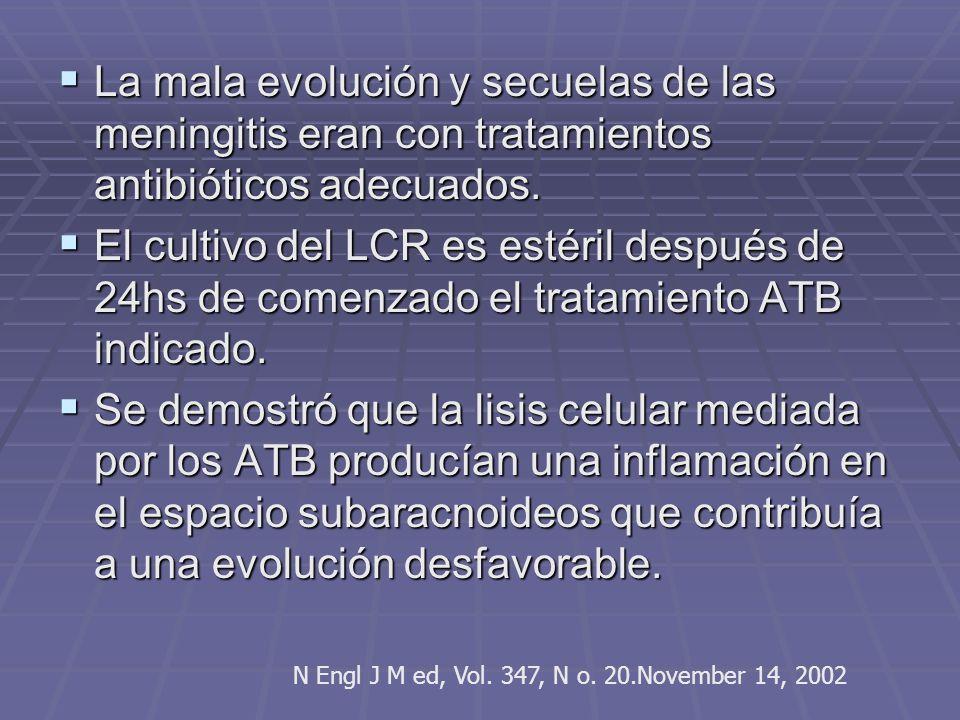 La mala evolución y secuelas de las meningitis eran con tratamientos antibióticos adecuados.