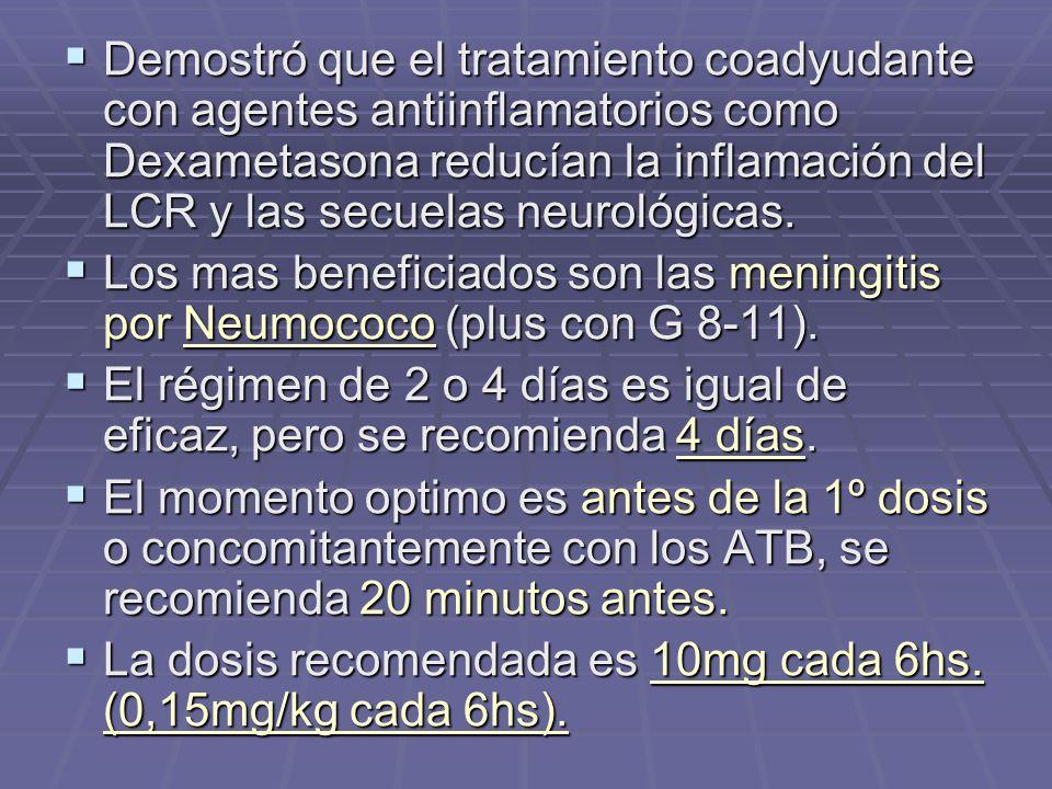 Demostró que el tratamiento coadyudante con agentes antiinflamatorios como Dexametasona reducían la inflamación del LCR y las secuelas neurológicas.