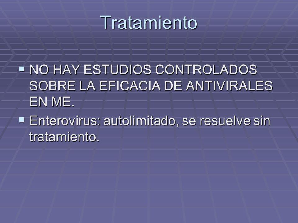 Tratamiento NO HAY ESTUDIOS CONTROLADOS SOBRE LA EFICACIA DE ANTIVIRALES EN ME.